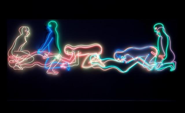 Bruce Nauman, Seven Figures (1985), neonbuis en multiplex, 220 x 465 cm